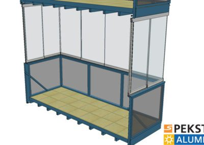 Zasklení mezi balkony vnitřní pohled