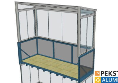 Zasklení horního balkonu pohled zevnitř